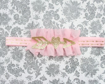 Beautiful Light Pink and Gold Arrow Ruffle Headband for First Birthday Baby Girl 6-18 Months Old