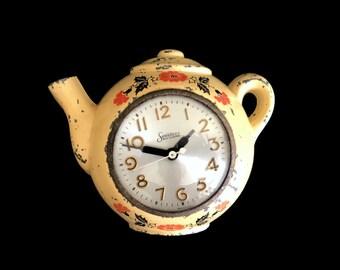 Vintage Teapot Clock, Kitchen Wall Clock, Cast Iron, Farmhouse Shabby Chic Home Decor, Non Working, Wall Decor Kitchen Clock, Sessions Clock