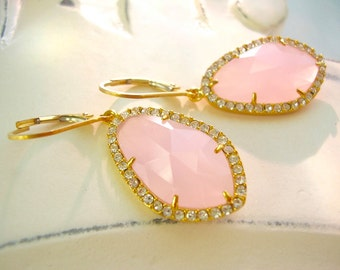 In The Pink Quartz and Cubic Zirconia, Gold Plate and 14kt Gold Fill Lever Backs