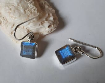 Labradorite earrings; square, solid 92.5 sterling silver