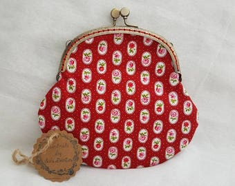 Large Red Floral Polka Dot Kiss Clasp Coin Purse/Change Purse