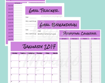Goal Planning Kit Purple Edition - Perpetual Calendar, Monthly Calendar, Goal Tracker, Goal Breakdown, Daily Action Planner