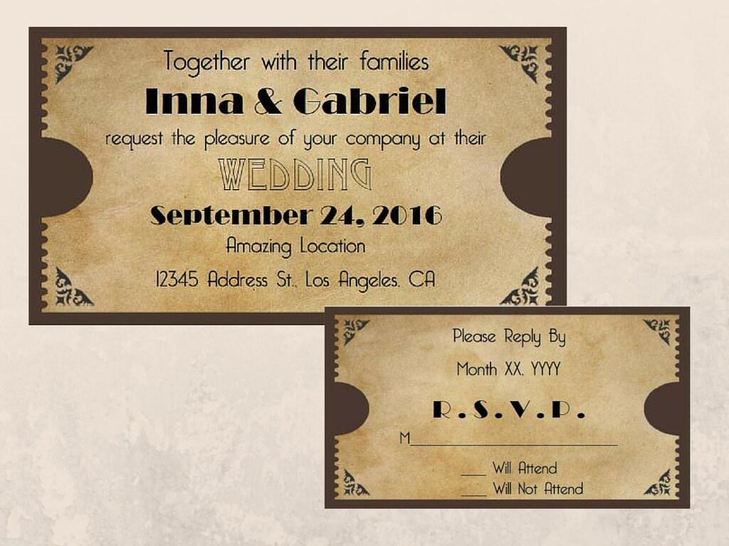 Wedding Ticket Invitations: Printable Movie Ticket Wedding Invitation And RSVP Cards