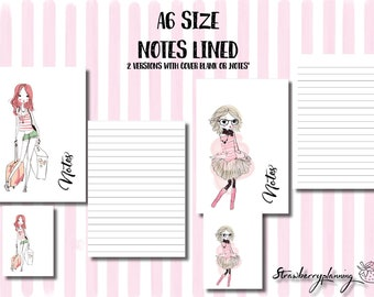 A6 Size Printable Planner Inserts Notes Lined