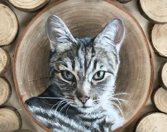 Custom Cat Portrait, Cat Lover Gift, Cat Memorial, Pet Painting on Wood, Wood Slice Portrait, Unique Hanukkah Gift, Christmas Gift