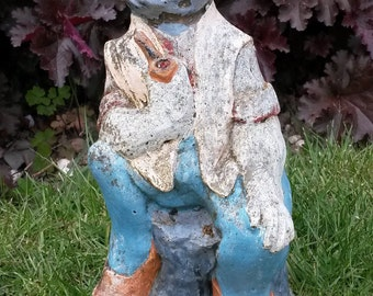 Vintage Garden Gnome Wearing Red Clogs