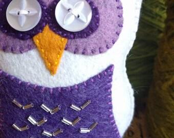 Handmade felt owl shelf sitter