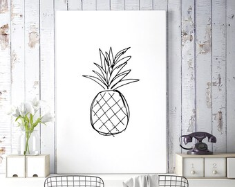 Pineapple Print, Kitchen Art, Black and White Art, Large Wall Art, Pineapple Decor, Sketch Art, Printable Wall Art, Digital Download Art