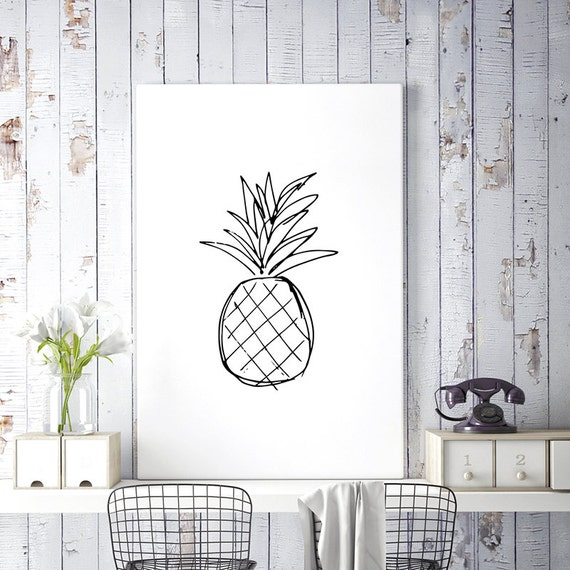 The Kitchen Sink Art Drawing Sketch Sketchbook By: Pineapple Print Kitchen Art Black And White Art Large Wall