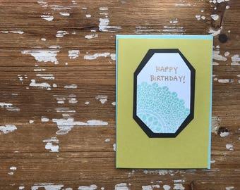 Sunburst Birthday in aqua on green card, blank