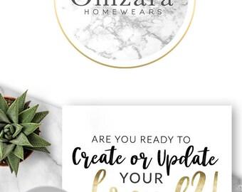 143 - Omzara, LOGO Premade Logo Design, Branding, Blog Header, Blog, Business, Boutique, Custom, Gold, Marble, Texture