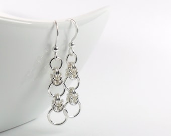 Sterling Silver Byzantine Earrings, Graduated Circles Chainmaille Earrings, Sterling Silver Jewellery 925, Interrupted Byzantine