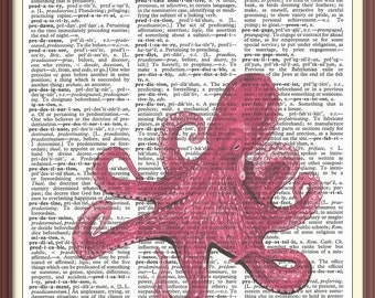Pink Octopus-Vintage Dictionary Art Print---Fits 8x10 Mat or Frame