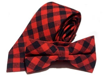 Red Black Plaid Buffalo Check Necktie, Bow Tie or Pocket Square Buffalo Plaid Necktie Lumberjack Tie Red Black Check Tie Groomsman Wedding