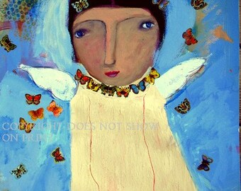 Angel of the Butterflies Original Print by New Orleans Arts Sister Raya