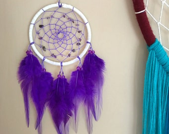 Amethyst & white dream catcher, faux suede, lilac web, purple feathers - 4 inches diameter dreamcatcher hand made