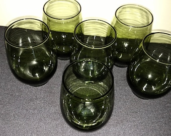 Vintage Green Juice Glasses