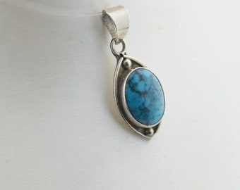 Sterling Silver 925 Estate Turquoise Pendant