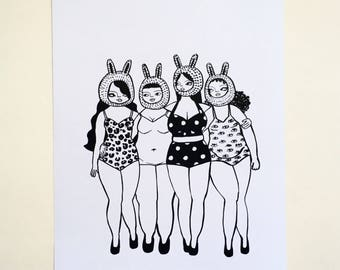 Illustrated body positive retro pinup monochrome girl gang art print A4