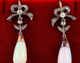 Georgian natural Harlequin Opal and Diamond rare drop earrings
