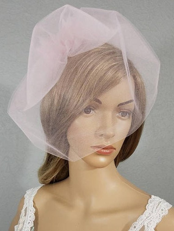 Blush Pink Birdcage Bridal Veil, Ivory Wedding Veil, Black Bridal Veil, White Veil, Two Tulle Rose Veil, Bridal Accessory, Pink Cage Veil
