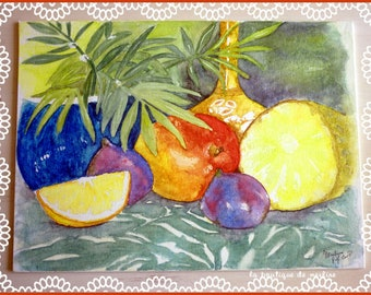 Watercolor still life painting