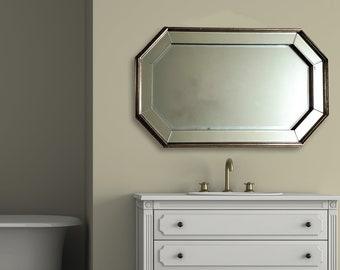 Simplicity Bevelled Hexagon Mirror-Length 94cm- Length 94cm