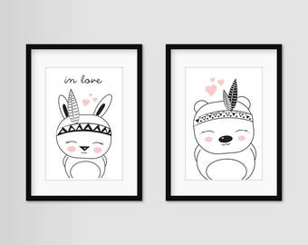 """Art print poster-set of 2 """"Rudy & budy"""" A4"""