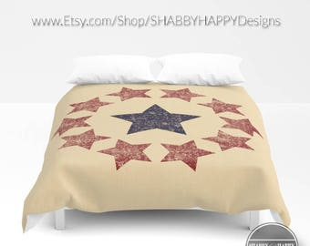 Primitive Americana Distressed Circle of Stars Tan Beige Blue Red /  Duvet Cover or Comforter Bedding Sizes Twin, XL Twin, Full, Queen, King