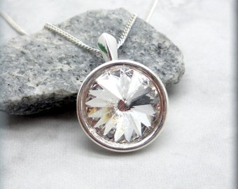 April Birthstone Necklace Swarovski Crystal Rivoli April Birthday Gift for Her Sterling Silver Everyday Jewelry Set Crystal Pendant