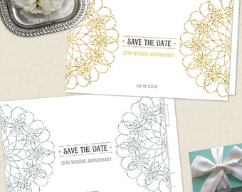 Elegant Mandala Faux Metallic Wedding Anniversary Save the Date Postcard or Card, Faux Silver or Golden, Printable, Evite or Printed Cards