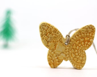 Yellow butterfly ornament Holiday ornament Holidays decor Wall hanging