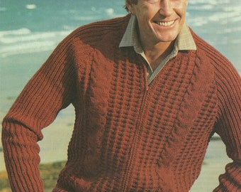 Mens Zip Cardigan PDF Knitting Pattern : Mans 34, 36, 38, 40, 42 and 44 inch chest . Patterned . Zipped Windcheater . Digital Download