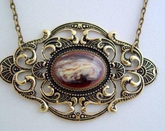Empress Chocolate Latte Split Chain Antique Bronze Necklace Open Filigree Setting Artisan Made