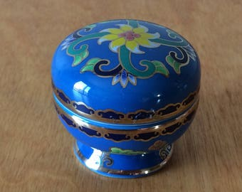 Del Prado Porcelain Pill Trinket Box - Blue with Yellow Flower - EP 15
