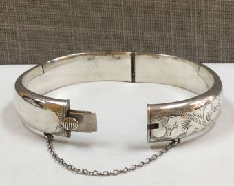 Vintage Engraved Sterling Silver Hinged Bangle Bracelet By RPH,  Free US Shipping!!!