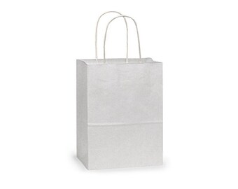 "12 Small White Paper Gift Bags, White Gift Bags with Handles, White Handle Gift Bag .  5-1/4""x3-1/2""x8-1/4"" Rose"