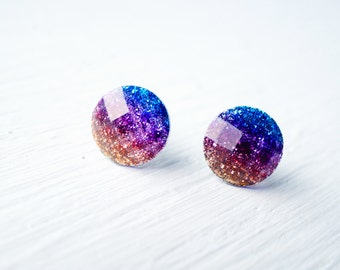 Ombre Glitter and Resin Stud Earrings