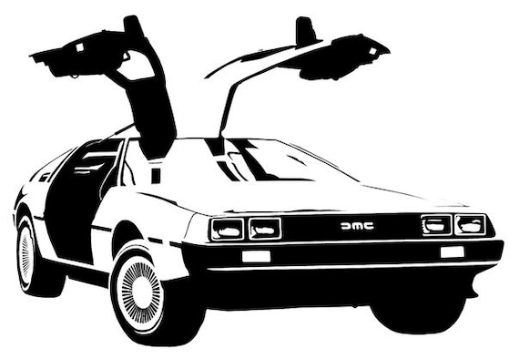 delorian dmc back to the future car movie sticker vinyl decal. Black Bedroom Furniture Sets. Home Design Ideas