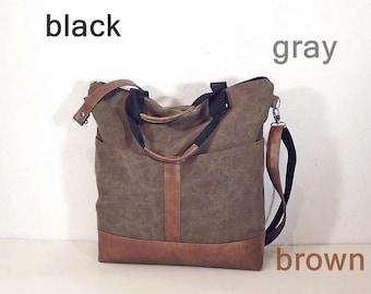 Waxed canvas shoulder bag, brown zipper crossbody purse, gray canvas tote bag, hobo bag wax canvas, crossbody travel bag, colors black, gray