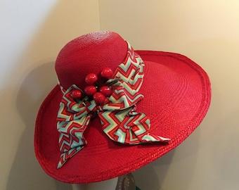 Cherry Red Panama Straw Hat Wide Brim 1940's