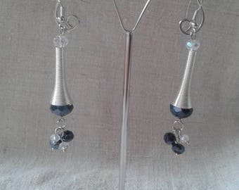 """blue and white duo"" earrings"
