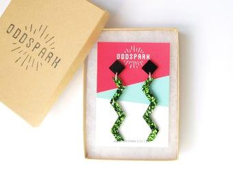Zig Zag Earrings in Black and Green Glitter Acrylic