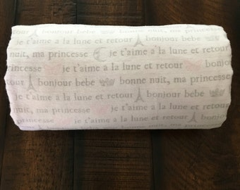 French love and moon stroller blanket