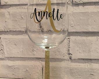 Personalised glitter wine glass, birthday, mum, daughter, friend gift present