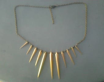 Necklace - gold - black beads iridescent and gold cones