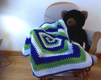 Hexagon Baby Blanket- Purple, Green, White