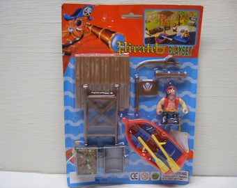 Toy Pirate Play Set Pirates Toys Pretend Play for Kids New Vintage nTy95