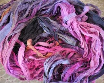50 Yards,  Thunder Clouds Ahead,   Sari Silk Ribbon Skein, Fair Trade,  from India Very Bohemian
