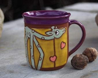 Giraffe Mug, Handmade Tea Mug, Animal mug, Pottery mug, Funny Kids Mug, Giraffe Cup, Coffee Funny Mug, Pottery Coffee Mug, Handmade mug